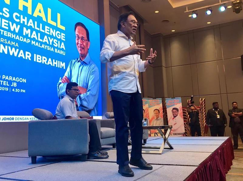 Second Picture: PKR president Datuk Seri Anwar Ibrahim said the Pakatan Harapan (PH) government should not solely focus only on the Malay agenda but it should be all inclusive in the interest of justice. — Picture by Ben Tan