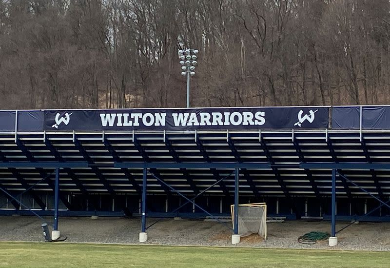 The bleachers of the sports stadium at Wilton where major high school athletics events are usually held but have been suspended pending further notice due to the coronavirus is seen in Wilton