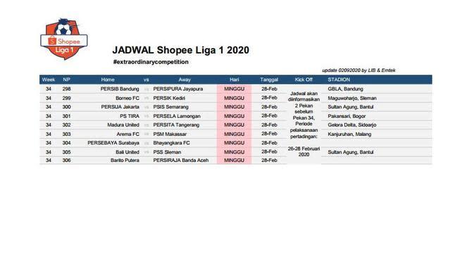 Jadwal lanjutan Liga 1 (6) (Istimewa)
