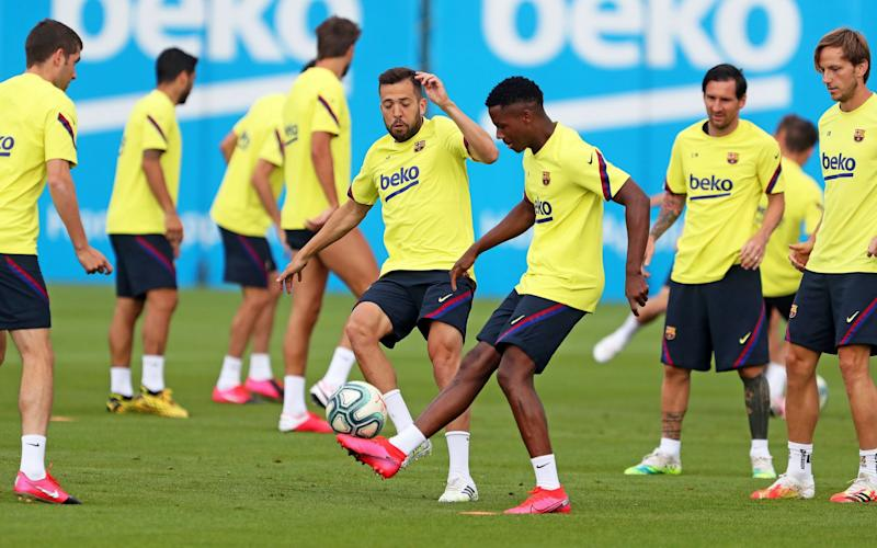 FC Barcelona players have returned to full training in another sign the Spanish lockdown is easing - MIGUEL RUIZ/FC BARCELONA HANDOUT/EPA-EFE/Shutterstock/Shutterstock