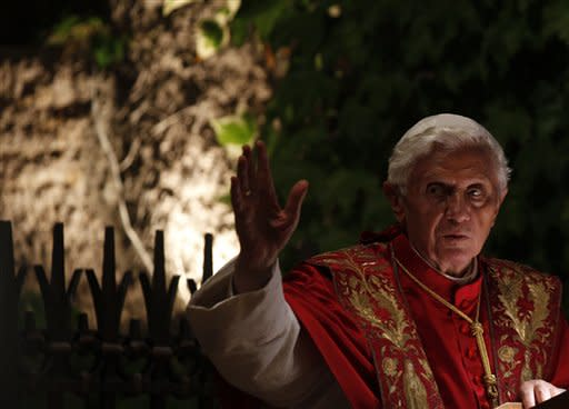 Pope Benedict XVI presides over a ceremony to mark the closure of the month dedicated to the Virgin Mary, at the Vatican gardens, Thursday, May 31, 2012. (AP Photo/Alessandra Tarantino)