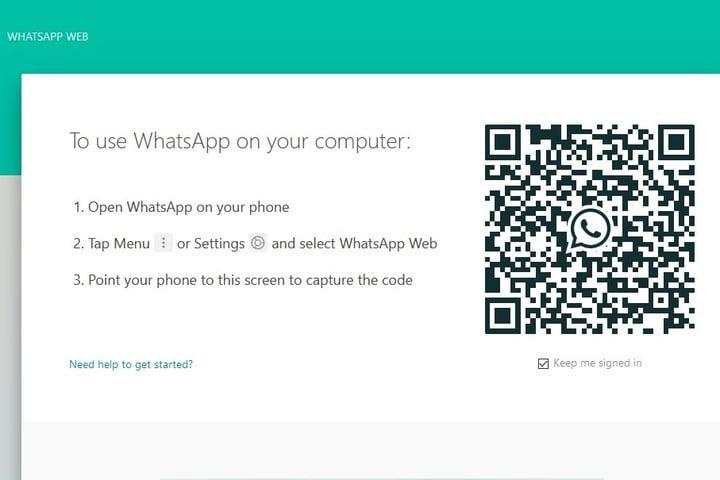 WhatsApp Web site screenshot