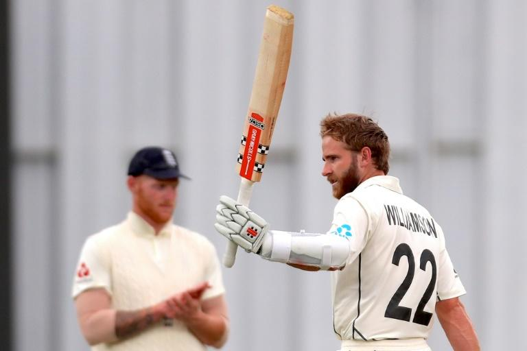 New Zealand captain Kane Williamson celebrates reaching his century