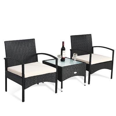 Piece Patio Wicker Rattan Furniture Set, 3 Piece Wicker Patio Conversation Set With Beige Cushions