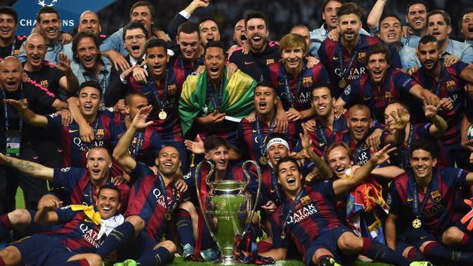 Barcelona menjadi klub asal Spanyol kedua yang meraih banyak juara di Liga Champions. Tahun juara: 1992, 2006, 2009, 2011, 2015. (AFP/Patrik Stollarz)