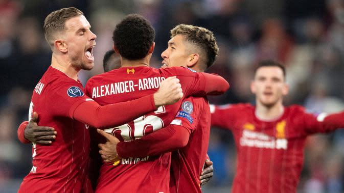 Liverpool mengalahkan Red Bull Salzburg di Red Bull Arena, Wals-Siezenheim, Rabu (11/12/2019) dini hari WIB pada laga terakhir Grup E Liga Champions 2019-2020. (Joe Klamar/AFP)