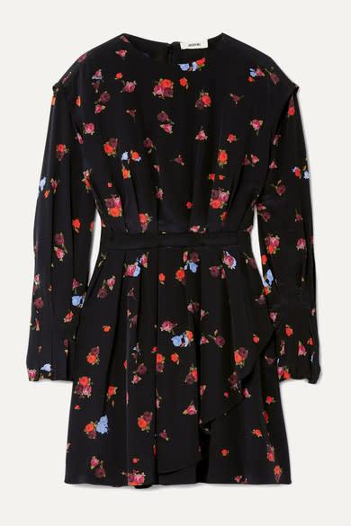 Jason Wu Pleated Silke Crepe de Chine Mini Dress
