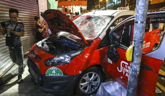 Lawmaker Ted Hui is pursuing a criminal case against taxi driver Henry Cheng after his vehicle crashed into protesters in Sham Shui Po in October last year. Photo: K. Y. Cheng