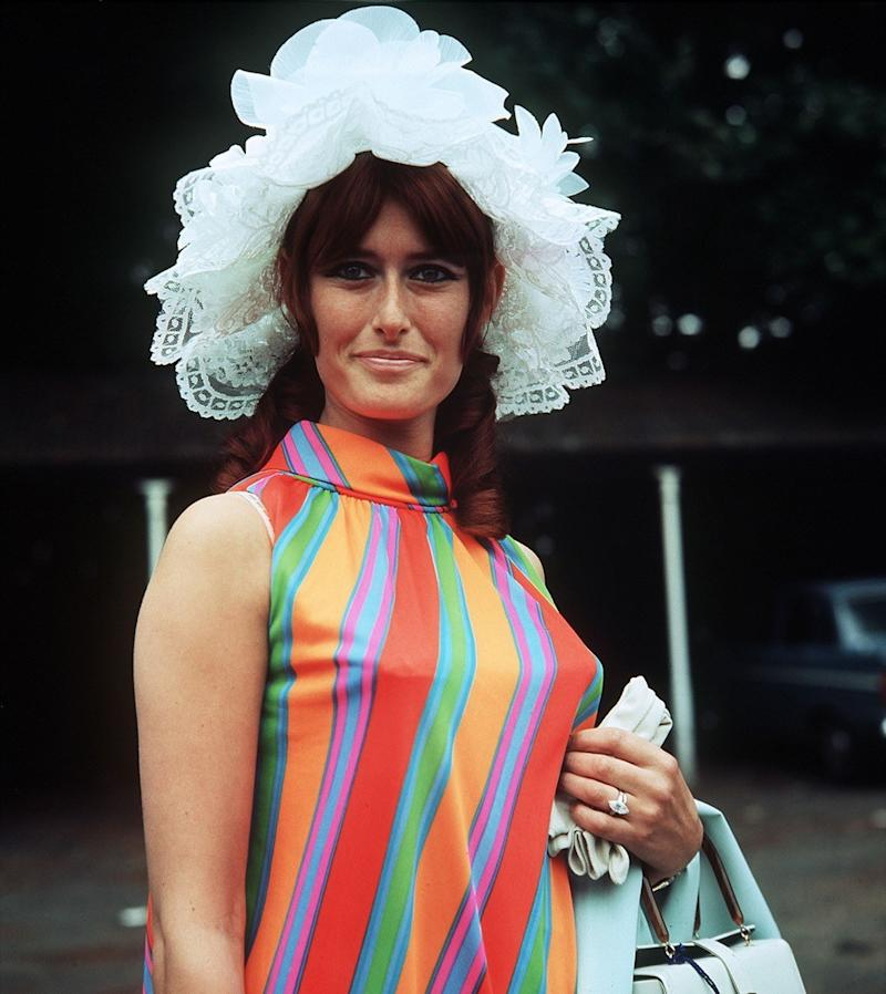 woman wearing a color blocked dress in the late 1960s