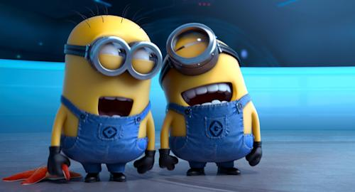 "FILE - This file photo provided by Universal Pictures shows the minion characters in the film ""Despicable Me 2."" Domestic box office numbers so far on this long Fourth of July holiday weekend are suggesting the animated minions of the family favorite, with a price tag one third of what ""The Lone Ranger"" cost to make, is outperforming the masked man by more than three to one. (AP Photo/Universal Pictures, File)"