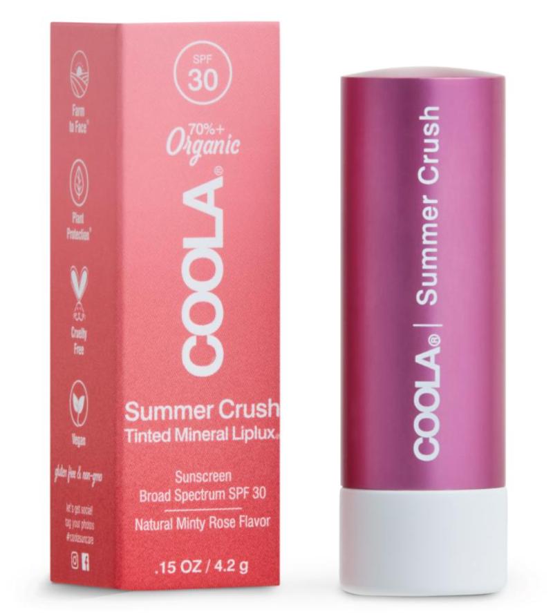 Coola Mineral Liplux Organic Tinted Lip Balm Sunscreen SPF 30 in Summer Crush