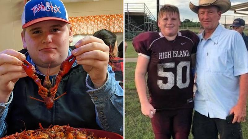 Texas teenager Caden Strimple, pictured left and right with his dad, was sucked into a drain at Fun Town Water Park in Texas. Source: Go Fund Me.