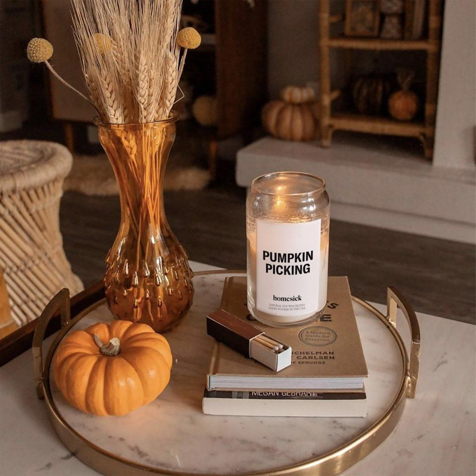 """<p>Known for its candles that smell like your home state, <a href=""""https://www.housebeautiful.com/shopping/home-accessories/a28699371/homesick-candles-diffuser-oils/"""" target=""""_blank"""">Homesick Candles</a> just dropped its popular <a href=""""https://homesick.com/collections/fall-favorites"""" target=""""_blank"""">Fall Favorites collection</a>. From a pumpkin-scented candle to a candle that smells like a freshly picked apple, the autumn lineup features candles that will bring back your favorite fall memories <em>and</em> get you excited for the new season just a couple weeks away. So even if you can't go to a pumpkin patch or an apple orchard amid the pandemic this year, you can still fill your home with the coziest fall scents. To help you get started, we've highlighted some favorites below. But you'll want to act fast because some of the candles in Homesick's Fall Favorites lineup are already selling out. </p>"""