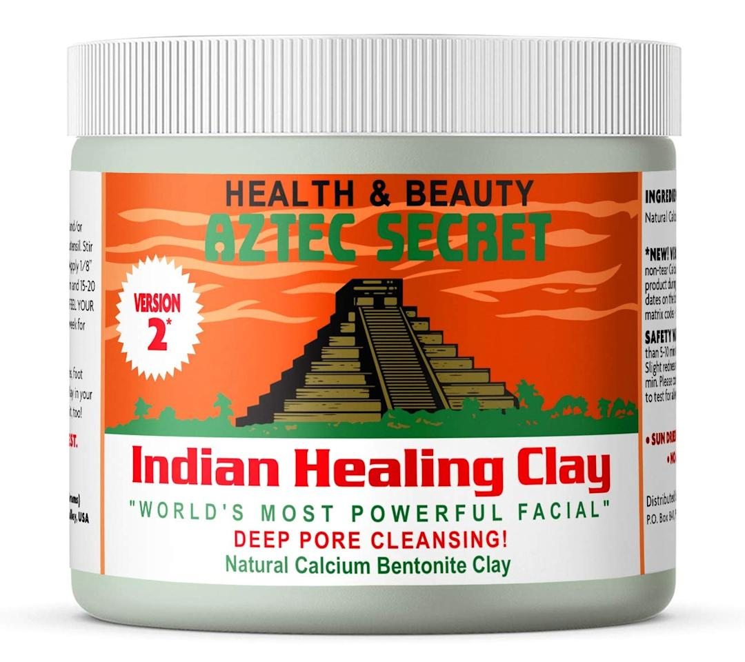 "<p>This <product href=""https://www.amazon.com/Aztec-Secret-Cleansing-Original-Bentonite/dp/B00S7ZPB8Q/ref=sr_1_4?dchild=1&amp;keywords=Aztec+Secret+Indian+Healing+Clay&amp;qid=1601503145&amp;sr=8-4"" target=""_blank"" class=""ga-track"" data-ga-category=""internal click"" data-ga-label=""https://www.amazon.com/Aztec-Secret-Cleansing-Original-Bentonite/dp/B00S7ZPB8Q/ref=sr_1_4?dchild=1&amp;keywords=Aztec+Secret+Indian+Healing+Clay&amp;qid=1601503145&amp;sr=8-4"" data-ga-action=""body text link"">Aztec Secret Indian Healing Clay</product> ($13) will give your skin a serious cleanse. Use it as the ultimate clay mask.</p>"
