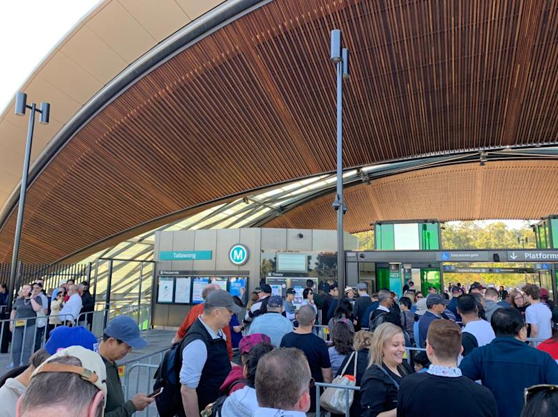 Crowds of people pictured at Tallawong Station on the Metro Sydney Trains line.