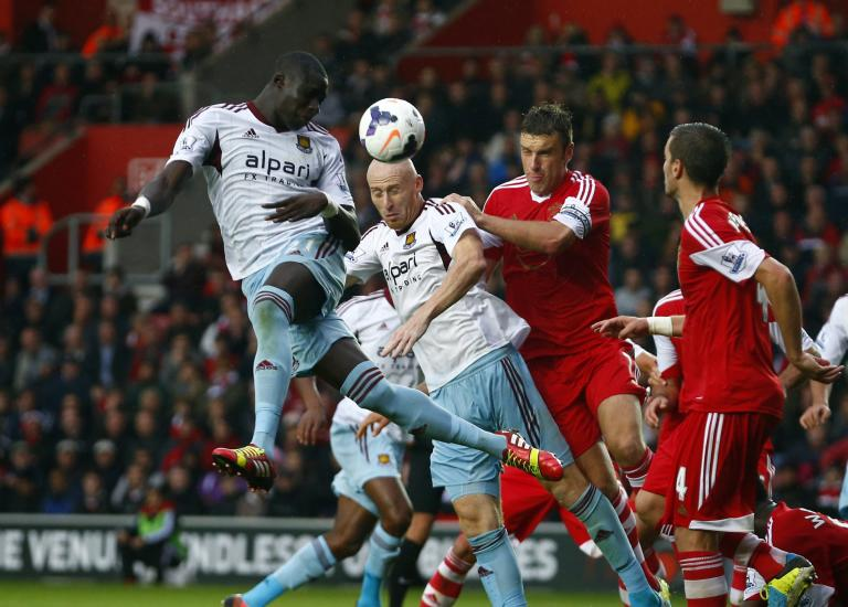 West Ham's Diame heads the ball during their English Premier League soccer match against Southampton at St Mary's stadium in Southampton, southern England