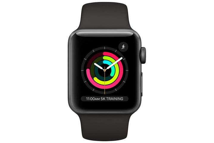 Picture shows a Space Gray Apple Watch Series 3 on a black sports band