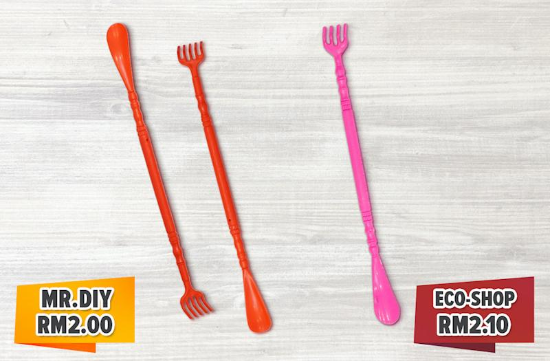The dual-purpose product acts as a back scratcher and shoehorn.