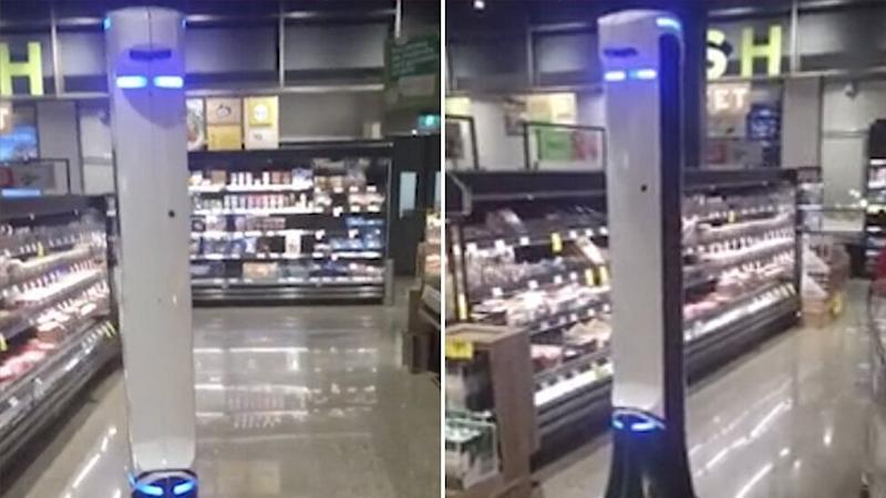 The safety robot is seen scanning the aisles for hazards and spills at Gregory Hills Woolworths.