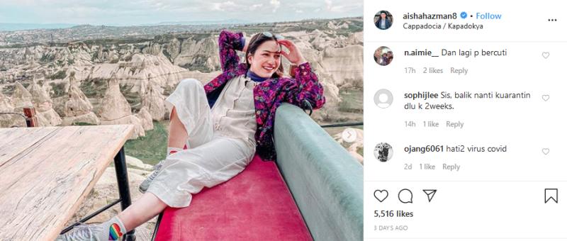 Actress Aishah Azman was also bombarded with criticism online. — Picture via Instagram/Aishah Azman