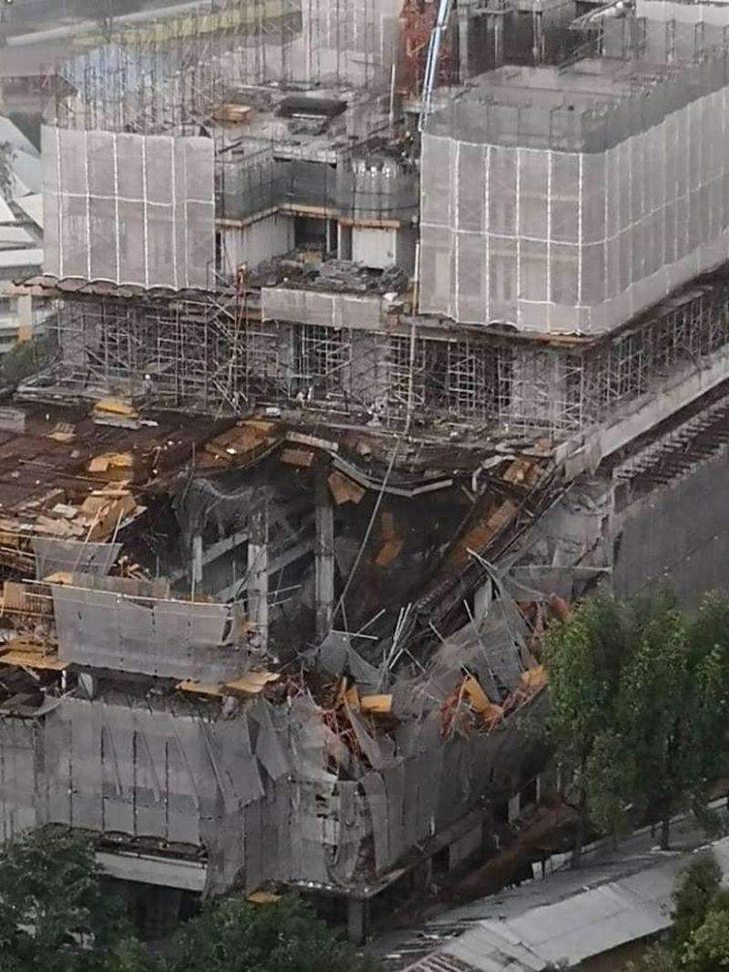 A general view of the partially collapsed condominium project in Taman Desa February 14, 2020. — Picture via Facebook