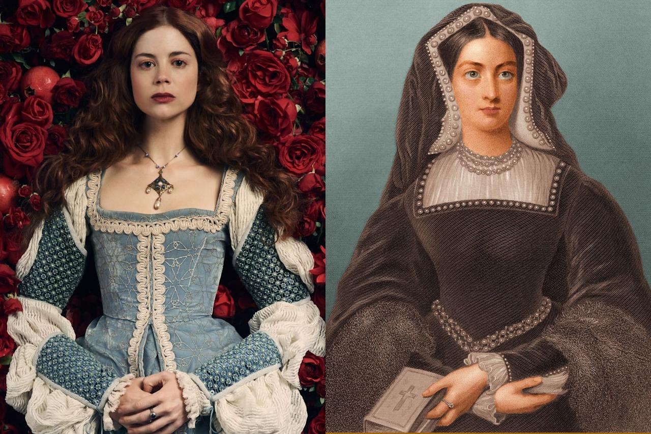 <p>Perhaps best known for her role as Myranda on <em>Game of Thrones</em>, <em></em>British actress actress Charlotte Hope portrays Catherine of Aragon. While history often diminishes Catherine's significance, this series most definitely does not; instead, she's at the center of the story, and it paints her as a confident, independent woman, who wants what was promised to her: to be Queen.</p>