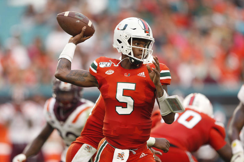 MIAMI, FLORIDA - OCTOBER 05: N'Kosi Perry #5 of the Miami Hurricanes throws a pass against the Virginia Tech Hokies during the second half at Hard Rock Stadium on October 05, 2019 in Miami, Florida. (Photo by Michael Reaves/Getty Images)