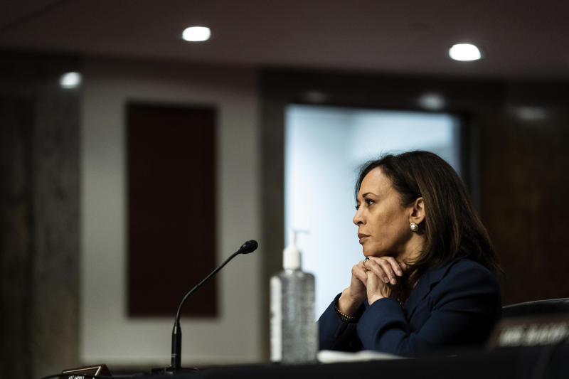 Sen. Kamala Harris, D-Calif., attends a Senate Judiciary Committee business meeting to consider authorization for subpoenas relating to the Crossfire Hurricane investigation, and other matters on Capitol Hill in Washington, Thursday, June 11, 2020. (Erin Schaff/The New York Times via AP, Pool)