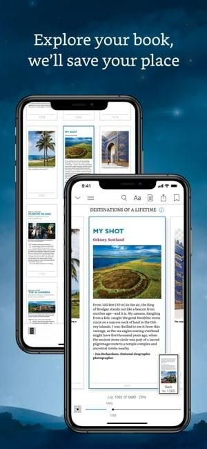 Kindle Reading app explore your book, we'll save your place screenshot