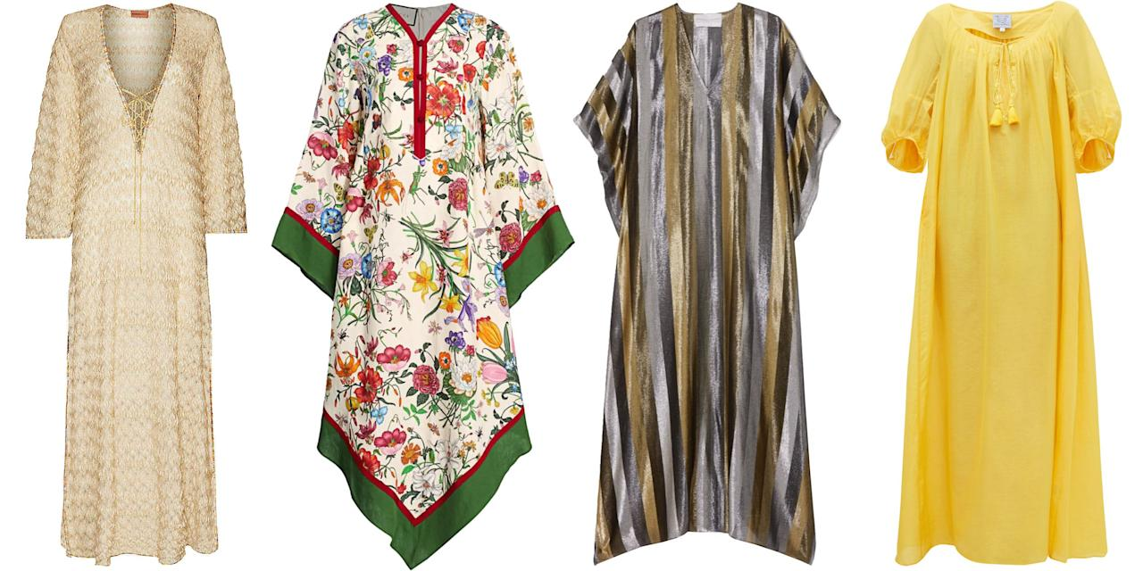 """<p class=""""body-dropcap"""">The dog days of summer are near. Longer stretches of scorching-hot rays and humidity that make dressing, quite frankly, unbearable are on the way, so you better get your closet ready. As there is only a handful of garments that work in these conditions, the caftan (or """"kaftan"""") is the unbeatable number one option. </p><p><a href=""""https://www.collectorsweekly.com/articles/caftan-liberation/"""" target=""""_blank""""> Dating back centuries</a> to the Ottoman sultans and Moroccan dignitaries who donned these decorative garbs made of luxurious silks and ornate beading, the caftan was introduced to Western society and adapted in the 1950s and '60s by leading couturiers such as Cristóbal Balenciaga and Christian Dior as a new form of evening gown.  Later, it evolved into more casual drapery, most notably an ensemble to wear to the beach. </p><p>The billowy, loose silhouette is what makes the caftan so alluring, allowing for ventilation and coverage, while making its wearer look effortlessly stylish.  Caftan design options are endless—from lengths long to short, fabrics silk to cotton voile, and patterns bright to muted—and aesthetics range wide.  Take a look at how each fashionable woman below styles her caftan in the heat and shop one—or a few—of your own.</p>"""
