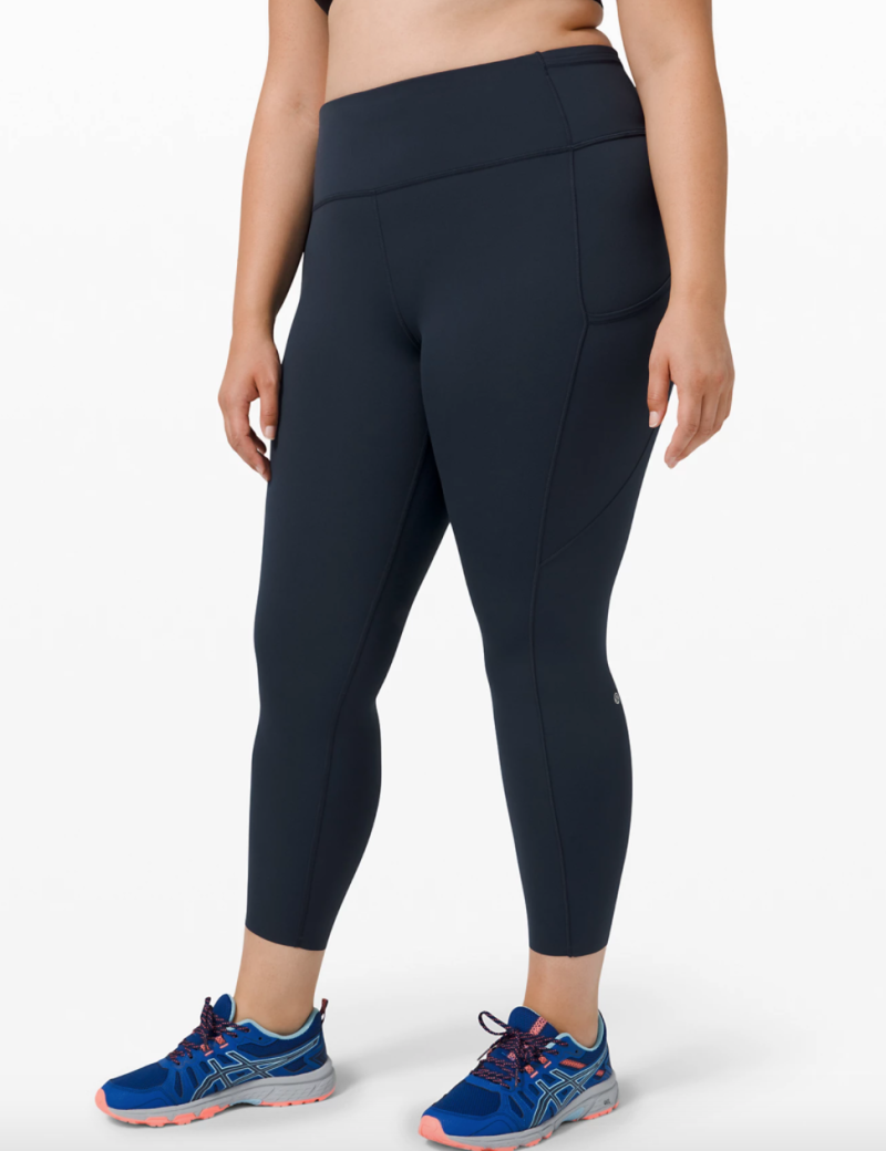 """Fast and Free Tight II 25"""" Non-Reflective Nulux. Model wearing size 16. Image via Lululemon."""