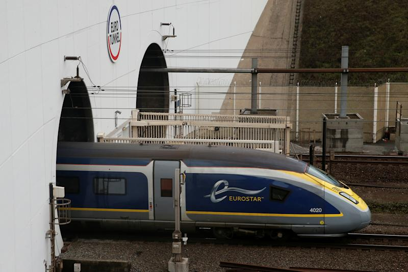 An Eurostar high speed train enters the Channel Tunnel in Coquelles, near Calais France, March 1, 2019. REUTERS/Pascal Rossignol