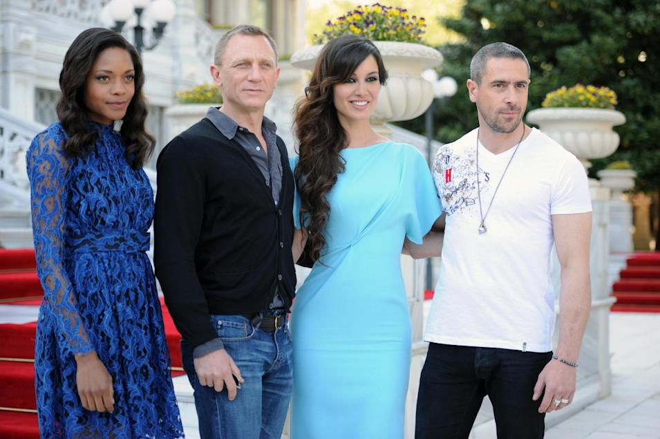 From left actors, Naomie Harris, Daniel Craig, Berenice Marlohe, and Ola Rapace arrive  for the photo call of the 23rd film in the James Bond series, 'Skyfall', in Istanbul, Turkey, Sunday, April 29, 2012. (AP Photo )