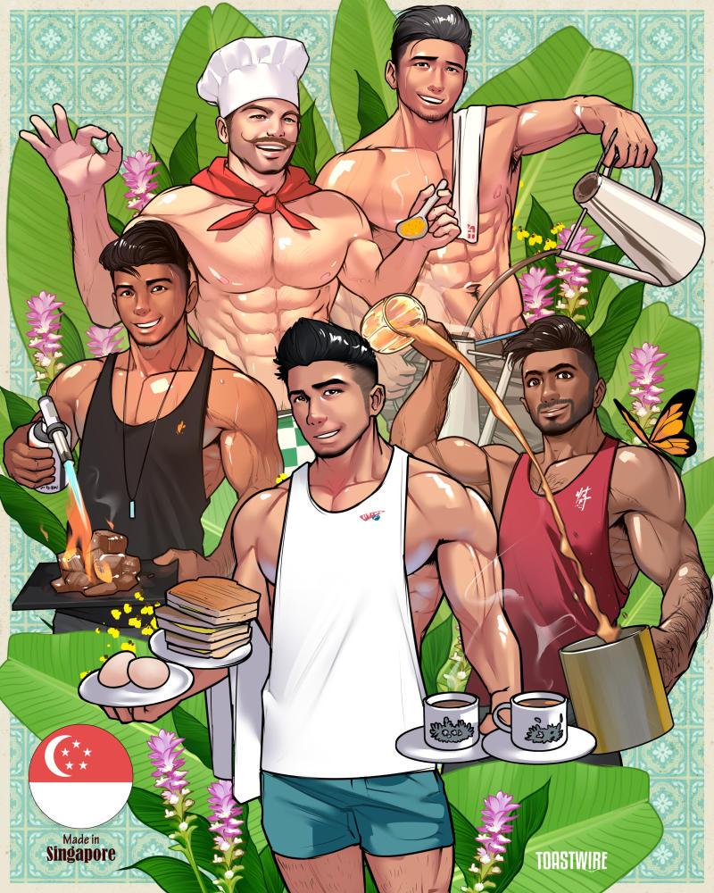 Artist Toastwire's five hunky food mascots of the brands Kopitiam, Ya Kun Kaya Toast, Mr Teh Tarik, Beef Bro and Jack's Place. (Artwork: Toastwire)