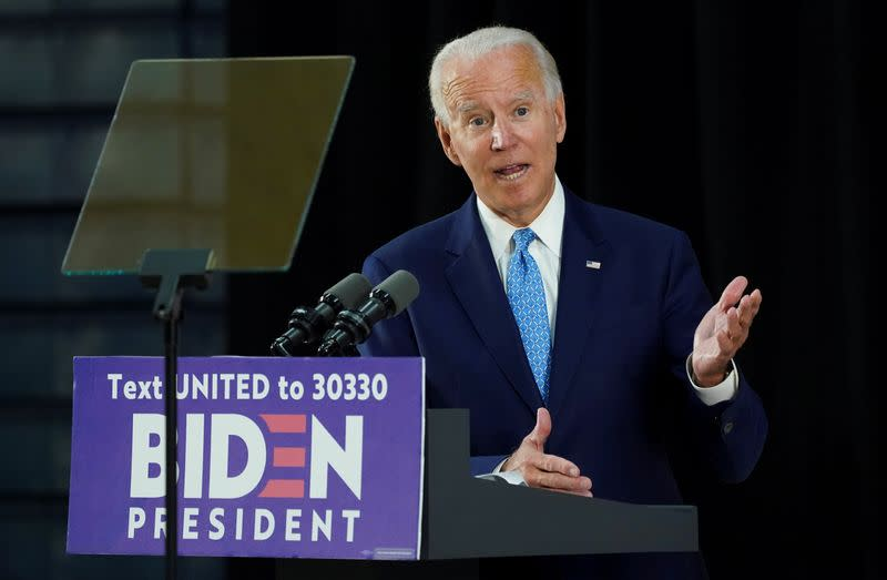 Democratic U.S. presidential candidate Biden speaks at campaign event in Wilmington, Delaware