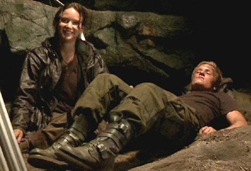 Jennifer Lawrence and Josh Hutcherson seen filming a scene during 'The Hunger Games' -- Lionsgate