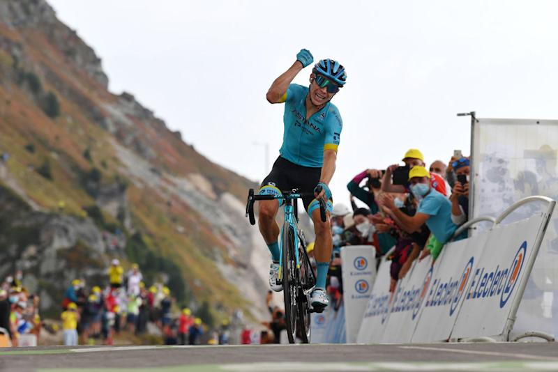 MERIBEL FRANCE SEPTEMBER 16 Arrival Miguel Angel Lopez Moreno of Colombia and Astana Pro Team Celebration Col de la Loze 2304m Public Fans during the 107th Tour de France 2020 Stage 17 a 170km stage from Grenoble to Mribel Col de la Loze 2304m TDF2020 LeTour on September 16 2020 in Mribel France Photo by Stuart FranklinGetty Images