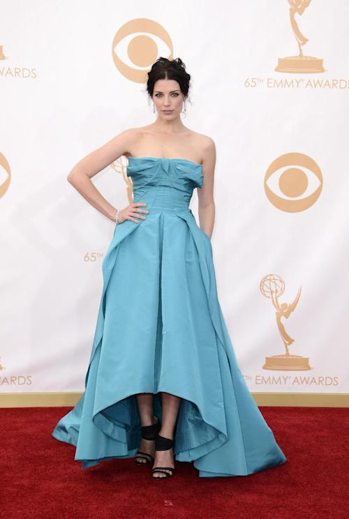Jessica Pare arrives at the 65th Primetime Emmy Awards at Nokia Theatre on Sunday Sept. 22, 2013, in Los Angeles. (Photo by Dan Steinberg/Invision/AP)