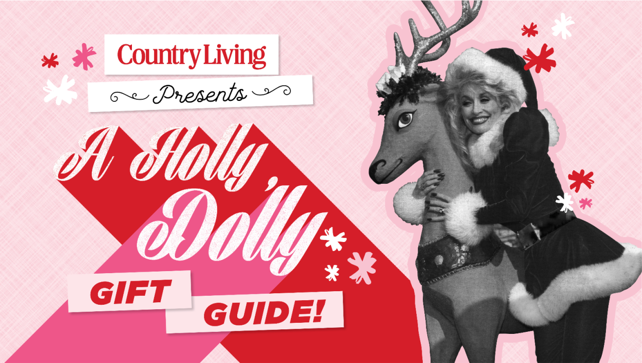 "<p>With a highly anticipated <a href=""https://www.countryliving.com/life/entertainment/a33596527/dolly-parton-holly-dolly-christmas-album-2020/"" target=""_blank"">holiday album </a>(her first in 30 years!), a new cookware collection at Williams-Sonoma (that patchwork apron of many colors!), an <a href=""https://www.countryliving.com/life/entertainment/a34209335/dolly-parton-netflix-movie-christmas-on-the-square/"" target=""_blank"">upcoming Netflix movie-musical</a>, an epic DVD collection, and a hardcover book, it's like the world knew we'd all need a little more Dolly Parton this year. Because, well, we do. And seeing that Dolly—no last name needed around the <em>Country Living </em>office—seems to be the one thing we can all agree on these days (and full of <a href=""https://www.countryliving.com/life/entertainment/g4017/dolly-parton-quotes/"" target=""_blank"">life wisdom we can all get behind</a>!) chances are a Dolly-themed present is just the ticket when it comes to a smile-inducing, 100-percent-appreciated holiday gift. Here, you're sure to find something for the young <em>and </em>old, men <em>and</em> women, humans <em>and </em>pets, and country music enthusiasts <em>and </em>skeptics. Besides, if anyone can win the latter over, it's Dolly. (While you're spreading the joy, consider <a href=""https://donate.imaginationlibrary.com/"" target=""_blank"">making a donation to the star's Imagination Library,</a> the country queen's nonprofit that has gifted more than 145 million free books to children around the globe.) You may even be inspired to host your own Dolly-themed gift swap, complete with <a href=""https://www.countryliving.com/food-drinks/recipes/a36897/white-chocolate-peppermint-blondies/"" target=""_blank"">blondies</a> (natch!), bubbly, and gratuitous amounts of tinsel. Just don't invite Jolene.<br></p><p></p>"