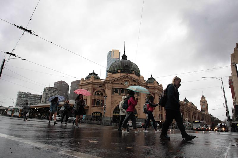 Flinders Street Station is seen on a rainy day in Melbourne in May last year. (AAP Image/Stefan Postles)