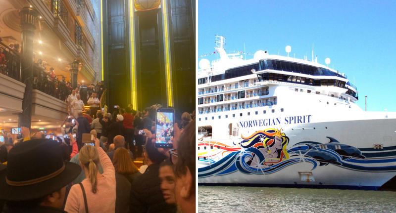Passengers shown protesting on board the Norwegian Spirit cruise.