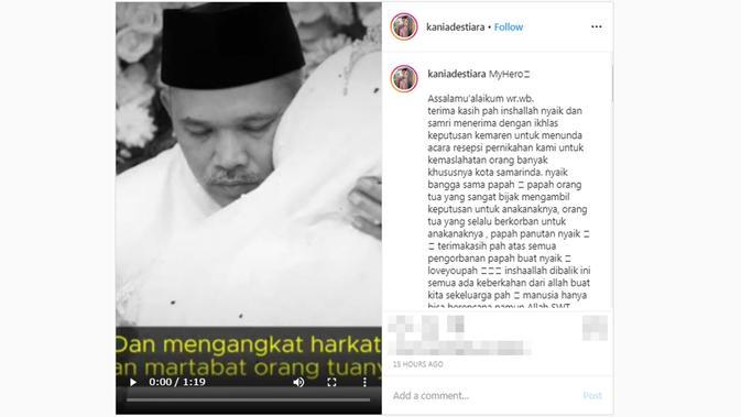 Unggahan putri Wakil Wali Kota Samarinda, Kania Destiara usai resepsi pernikahan ditunda. (dok. Instagram @kaniadestiara/https://www.instagram.com/p/B-EwBECpHbh/?hl=en/Putu Elmira)