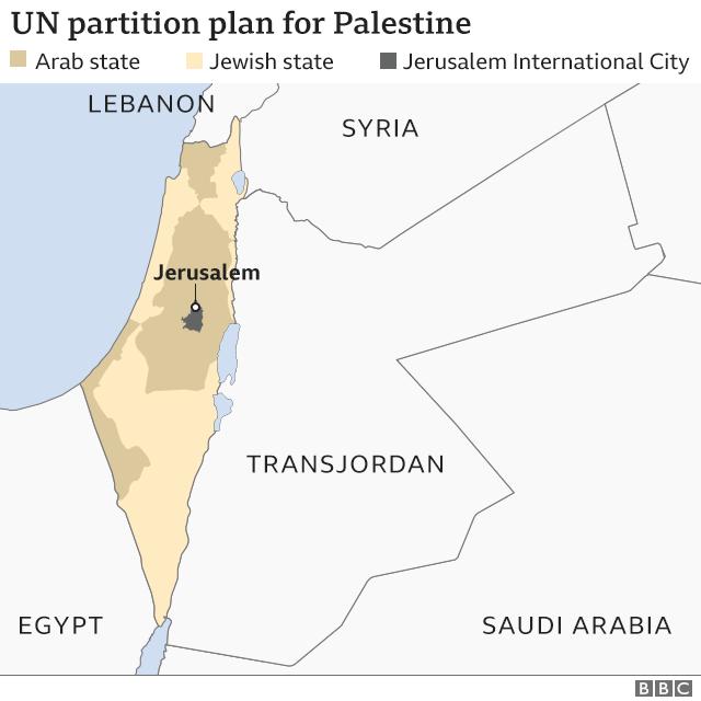 Peta rencana partisi PBB untuk Palestina