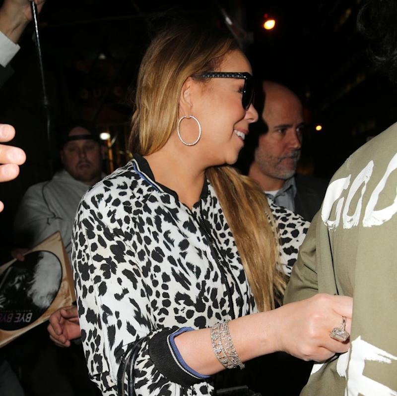 Singer Mariah Carey, wearing her enormous engagement diamond ring from James Packer, leaves for her Christmas Concert at the Beacon Theatre in New York, City, New York.Source: Splash