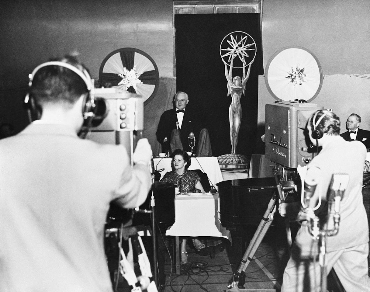 <p>The cameras get set in place for the 1st Annual Primetime Emmy Awards, which were held at the Hollywood Athletic Club on January 25, 1949.</p>