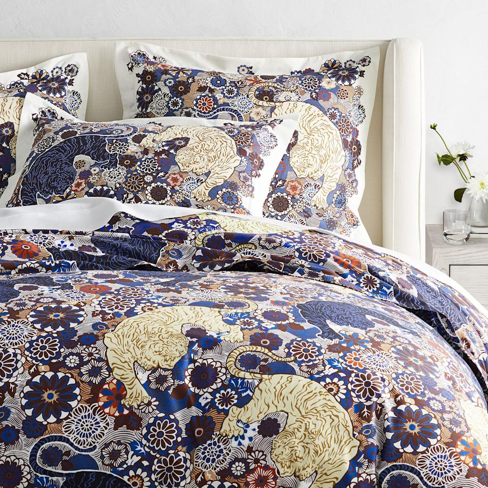 """<p>Looking for some fierce new bedding? You're in luck! Two of our favorite brands just launched an exclusive bedding and pillow design collection together and it's filled with some wild prints. Enter the <a href=""""https://go.redirectingat.com?id=74968X1596630&url=https%3A%2F%2Fwww.williams-sonoma.com%2Fshop%2Fhome-pillows-throws%2Fscalamandre-collection-shop%2F&sref=https%3A%2F%2Fwww.housebeautiful.com%2Fshopping%2Fhome-accessories%2Fg34162247%2Fwilliams-sonoma-scalamandre-bedding-collection%2F"""">Williams Sonoma Home x The House of Scalamandré collection</a>.</p><p>This new stock features some of the most iconic prints from the almost century old-textile purveyor. Between the Leaping Cheetah, Siberian Tiger, Zebras, and Bahar, shoppers can enjoy Williams Sonoma luxury bedding with a fun eye catching design.</p><p>The line comprises over 25 new products in all different sizes, ranging from $79.00 to $399.99. Plus if you buy right now, you can receive up to 30% off your order as well as free shipping. We included our favorites from the collection below—or you can shop the entire collection <a href=""""https://www.williams-sonoma.com/shop/home-pillows-throws/scalamandre-collection-shop/"""">here</a>.</p>"""