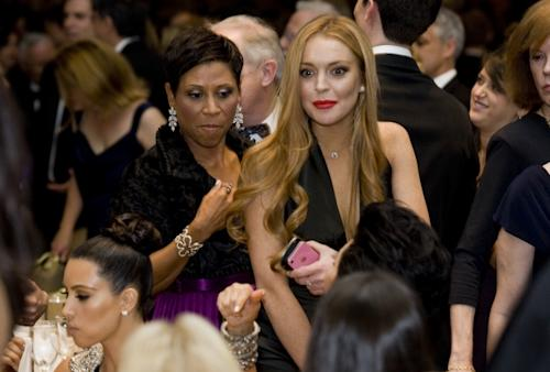 Lindsay Lohan and her attorney Shawn Chapman Holley at the 2012 White House Correspondents' Association Dinner held at the Washington Hilton in Washington, D.C. on April 28, 2012 -- Getty Images