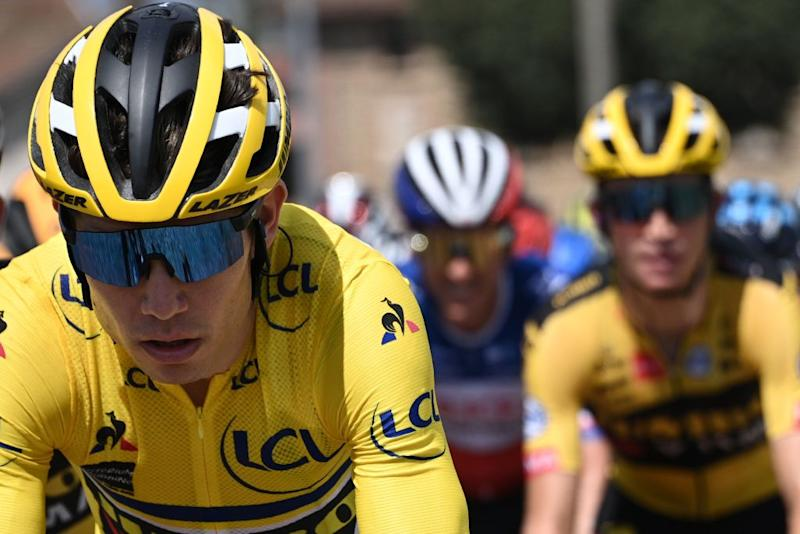 Team Jumbo rider Belgiums Wout van Aert rides during the second stage of the 72nd edition of the Criterium du Dauphine cycling race 135 km between Vienne and Col de Porte near Sarcenas on August 13 2020 Photo by AnneChristine POUJOULAT AFP Photo by ANNECHRISTINE POUJOULATAFP via Getty Images