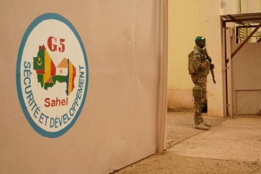 A Malian army soldier attached to G5 Sahel on guard duty at the command post