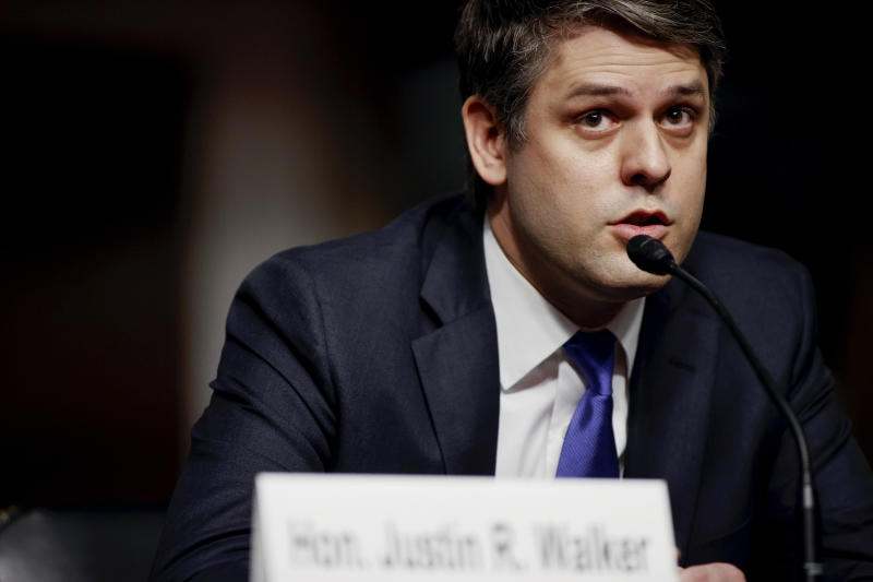 In this May 6, 2020 photo, Justin Walker testifies before a Senate Judiciary Committee hearing on his nomination to be a U.S. circuit judge for the District of Columbia Circuit on Capitol Hill in Washington. (Jonathan Ernst/Pool Photo via AP)